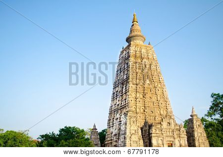 Mahabodhigaya Temple With Blue Sky