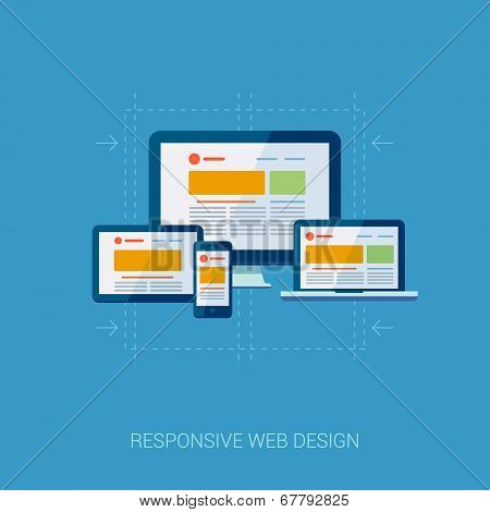 Flat design concept icons for web and mobile services. Apps icons for internet advertising responsiv
