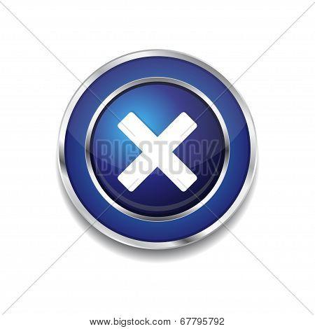 Cross Circular Blue Vector Web Button Icon