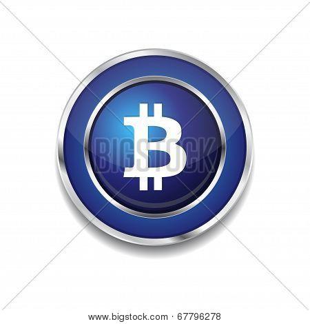 Bit Coin Circular Blue Vector Web Button Icon