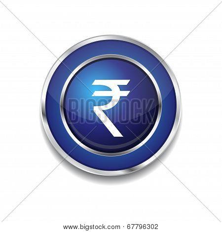 Rupee Currency Sign Circular Vector Blue Web Icon Button