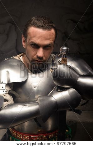 Emotional portrait of medieval Knight