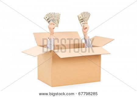 Hands with money raising from a box isolated on white background