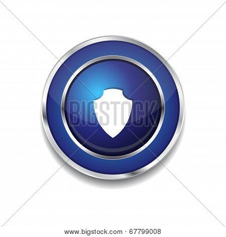 Shield Circular Vector Blue Web Icon Button