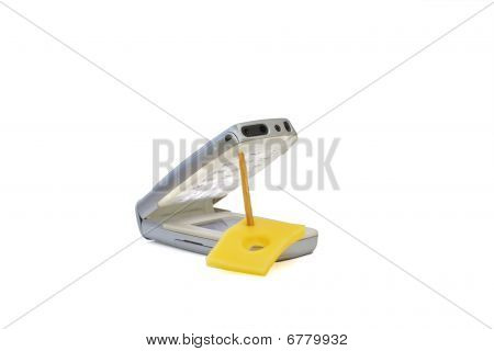 Concept Of Mobile Phone As Mousetrap With Free Cheese