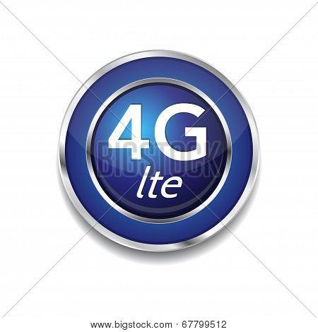 4g Sign Circular Blue Vector Button Icon
