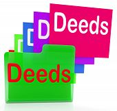 stock photo of deed  - Deeds Files Meaning Trust Certificate And Paperwork - JPG
