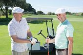 picture of buggy  - Golfing friends chatting beside their buggy on a sunny day at the golf course - JPG