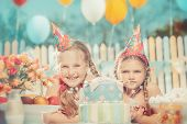 stock photo of have sweet dreams  - Little girls in anticipation of the holiday - JPG