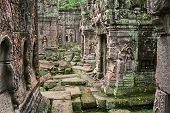 stock photo of hindu temple  - The Angkor Wat temple ruin in Cambodia - JPG