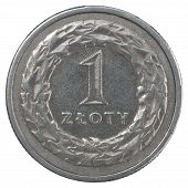 picture of zloty  - One Polish Zloty coin isolated on white background - JPG