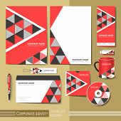 foto of letterhead  - corporate identity template with red and black triangle elements - JPG