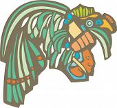 image of mayan  - Traditional Mayan Mural image of profile of a Mayan Warrior - JPG