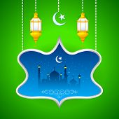 image of eid ka chand mubarak  - easy to edit vector illustration of Eid Mubarak  - JPG