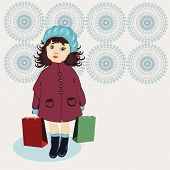 stock photo of beret  - Girl With Shopping Bags in blue berets - JPG