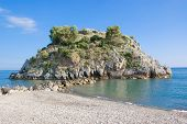 foto of bluff  - Bluff with selvatic vegetation in Mediterranean sea, Palinuro, Italy ** Note: Soft Focus at 100%, best at smaller sizes - JPG