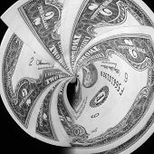 pic of two dollar bill  - Two dollar bills swirling into a vortex against a black background - JPG