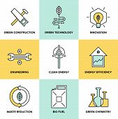 stock photo of environmental conservation  - Flat line icons set of natural renewable and clean energy green technology innovation and chemistry bio fuel and waste reduction efficiency ecological construction and recycling elements - JPG