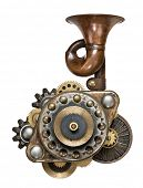 pic of steampunk  - Stylized metal collage of mechanical device - JPG