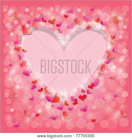 Valentine's Day Or Wedding Pink Background With Red Hearts Confetti And Lights. Holidays Frame, Love