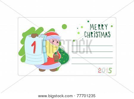 Santa Claus. Envelope Christmas or Christmas Vector illustration