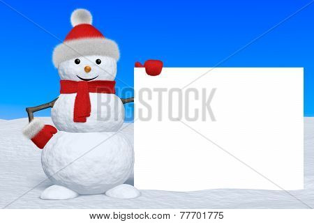 Snowman With Blank White Board