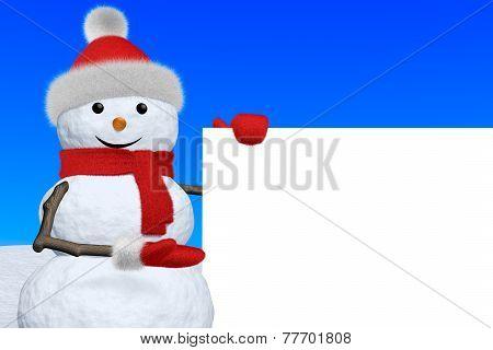 Snowman Shows Blank White Board