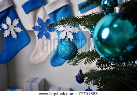 Holiday decorations on the Christmas tree
