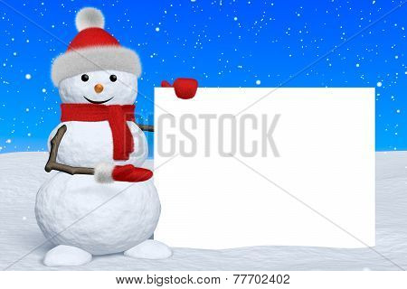 Snowman Shows Blank White Board Under Snowfall