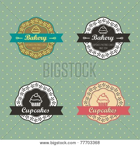 Bakery Cupcakes retro style labels on retro polka dots background