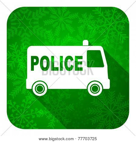 police flat icon, christmas button