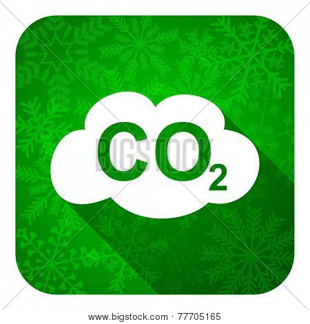 carbon dioxide flat icon, christmas button, co2 sign