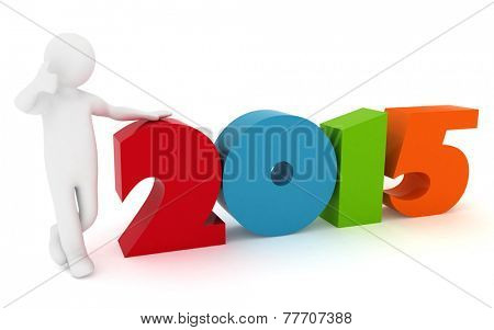 Man presenting new year 2015. 3d illustration rendering on white background