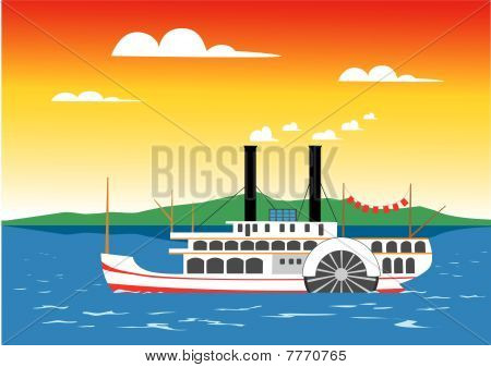 Paddle Steamer On The River.