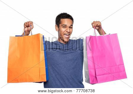 Yound Man With Shopping Bags
