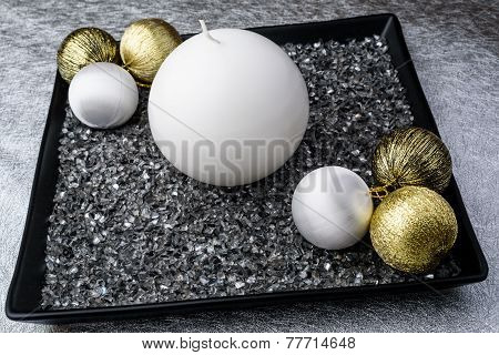 Modern Advent Wreath On A Silver Tablecloth