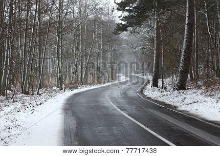 Snowy road in winter landscape