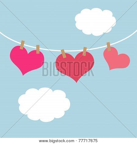 Pink Hearts Hanging On A Clothes Line