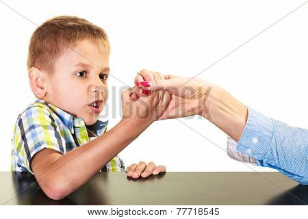 Mother And Son Arm Wrestling.