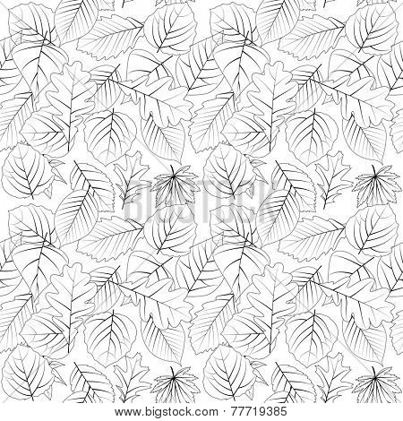 Seamless pattern with contour leaves. Black-and white.