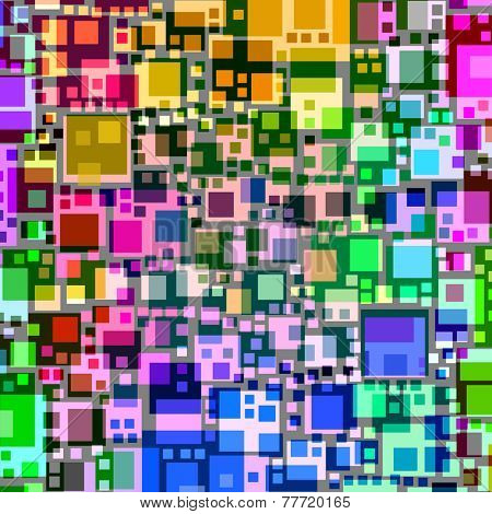 Abstract overlapping colorful square shapes.