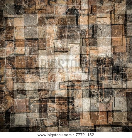 Abstract weathered texture of stained old dark stucco brown and painted red, yellow brick wall background in rural room. Grungy rusty square blocks of darken stonework retro color architect wallpaper.
