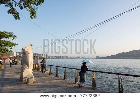 TAIPEI, TAIWAN - November 21th : The scenery of Tamsui with people, Taiwan on November 21th, 2014.