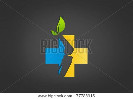 natural cross pharmacy bone  vector logo design template