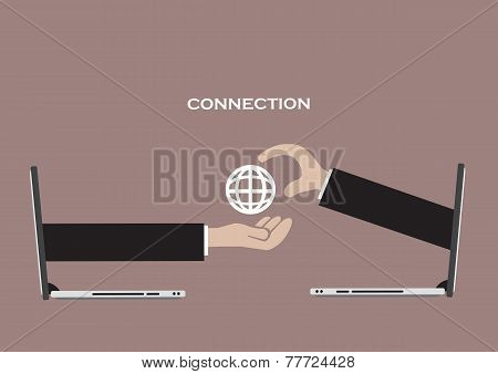 Business Connection And Global Network Technology Vector Illustration