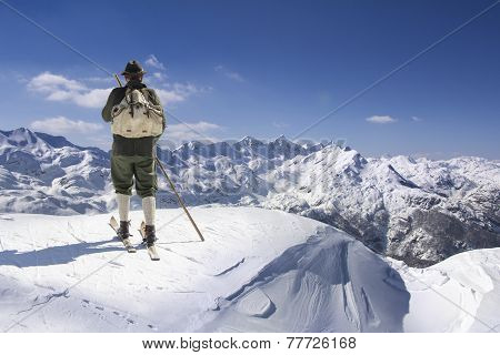 Vintage Skier With Wooden Skis
