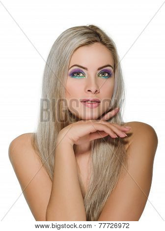 Beautiful woman with healthy long blond hair
