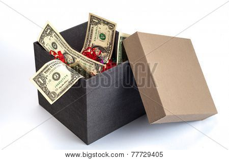 US Dollar currency notes in a plain box with decorative shredded paper.