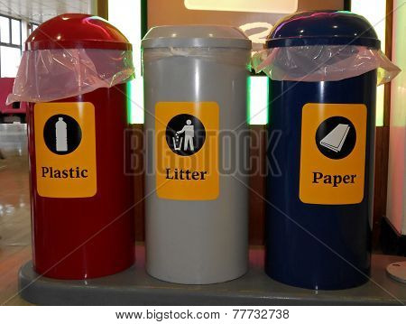 Recycling bins.