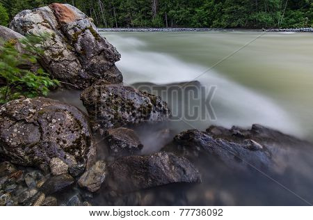 Rocky Shore With Flowing River Water